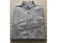 Men's Ralph Lauren Short Sleeve Shirt Blue And White Striped Small