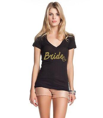 Bride Womens V-neck T-shirt - Gold Bride Women's V-Neck T-shirt Wedding Marriage Bachelorette Party Tee