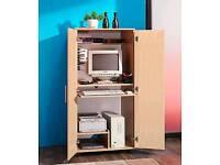 Hideaway computer cupboard-storage