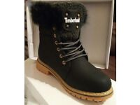 Brand New without box ladies Black Timberland fur rim ankle boots sizes 5 - 6