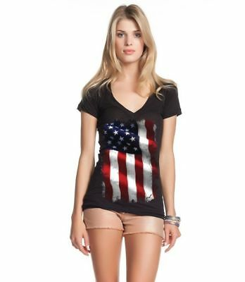Large American Flag Patriotic Women's V-Neck T-shirt 4th of July USA Flag Tee ()