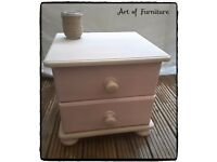 Wooden Bedside Table Hand Painted in Butterscotch & Antoinette Chalk Paint.