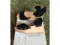 Top Shop leather and wood wedges size 5