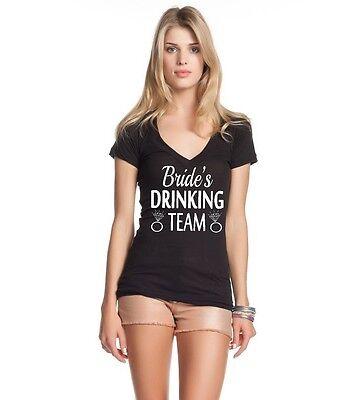 Bride Womens V-neck T-shirt - Bride's Drinking Team Women's V-Neck T-shirt Bachelor Party Funny Wedding Tee