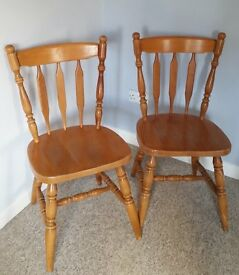 Pair of Solid Beech Wooden Chairs