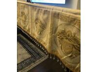 Curtains and pelmet valance gold and cream greek key beaded