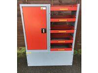 Van Racking / Shelving - BOTT - Heavy Duty - 5 Shelves - 1 Cupboard - V G Condition