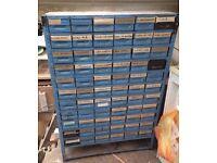 VINTAGE INDUSTRIAL METAL 66 DRAWER ENGINEERS CABINET STORAGE