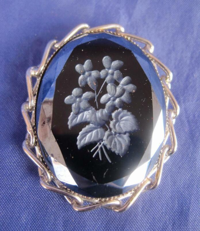 Vintage Victorian Mourning Pin Black Hematite Etched Flowers Brooch Silver Tone