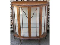Vintage Antique? Art Deco Glass-Fronted Walnut Display Cabinet, Some Restoration Needed