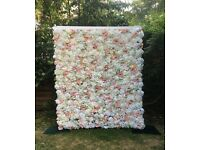 Beautiful flower wall made with quality artificial faux flowers to hire - wedding/events/party