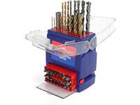 3-Piece Drills Bits Set, Including 12 x Twist Drills, 5 x Wood Drills, 5 x Masonry Drills, 20 x S2