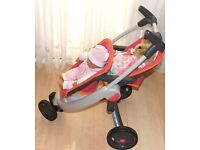 DOLLS TANDEM PRAM ,WITH CARSEAT ,PINK. USED .
