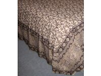 New Cream/Black Indian Hand Block Printed Cotton Double Bedspread/Sofa Throw from Country & Eastern