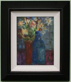Irish Art Original Oil Painting Framed STILL LIFE FLOWERS by Irish Artist RACHEL GRAINGER-HUNT.