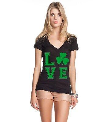 - Green LOVE Irish Womens V-Neck T-shirt St. Patrick's Day Drinking Beer Drunk Tee