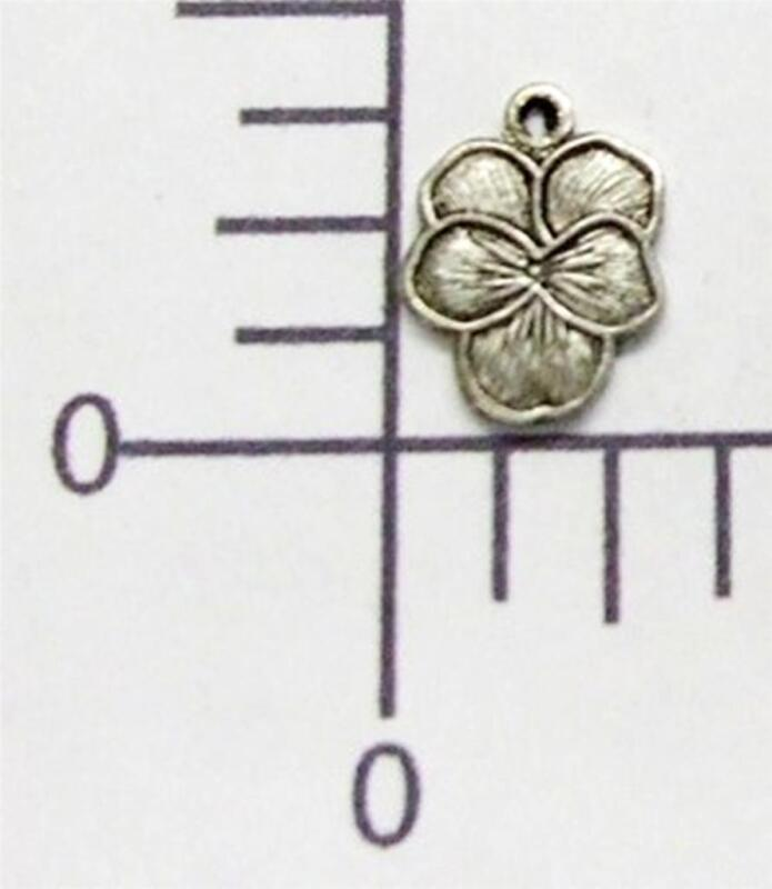 30714        6 Pc Matte Silver  Oxidized Pansy Flower Jewelry Finding Charm