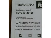X2 Chase and Status Tickets Newcastle 02 Academy. Sunday November 20th. Standard Balcony.