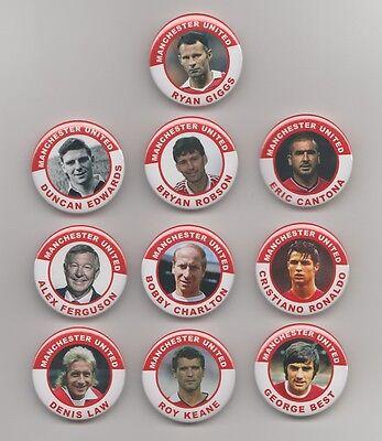 MANCHESTER UNITED FC LEGENDS (SET 1 ) FRIDGE MAGNETS X10