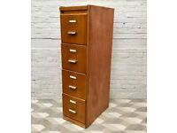 Vintage Retro Wooden Filing Cabinet #548