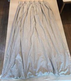 Two Pairs Bespoke Silk Designer Beldecor Curtains (blue, white, cream striped) £200 ONO