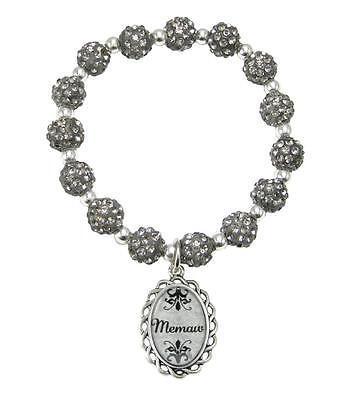Memaw Black Diamond Gray Jeweled Beads Crystal Stretch Bracelet Jewelry - Black Diamond Crystal Bracelet