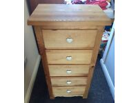 Solid rustic chunky pine chest of drawers