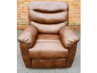 Brown leather manual recliner armchair DELIVERY INCLUDED