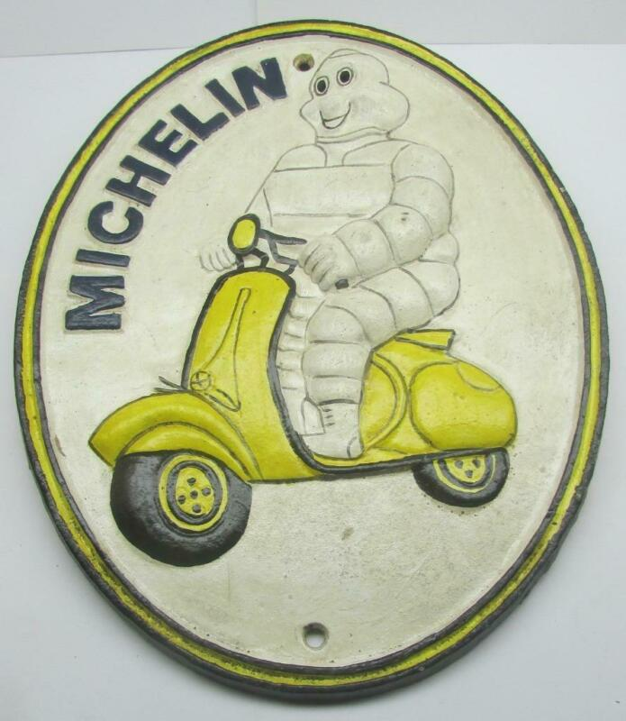 Michlin Bibendum on Scooter London 1952 Cast Iron Sign