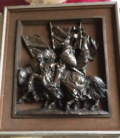 VINTAGE BRONZE COLD CAST HERALDS PICTURE WITH BROWN FRAME