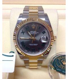 Rolex DATEJUST II 116333 Mens Steel & Yellow Gold Slate Green Roman Dial 41MM Watch