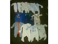 Baby boy 0-3 months babygrows/sleeping suits