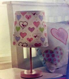 Brand new childrens pink love heart patterned bedside lamp