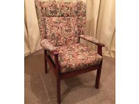 High Wing Back Armchair - Easy Chair - Floral Pattern OAP Chair