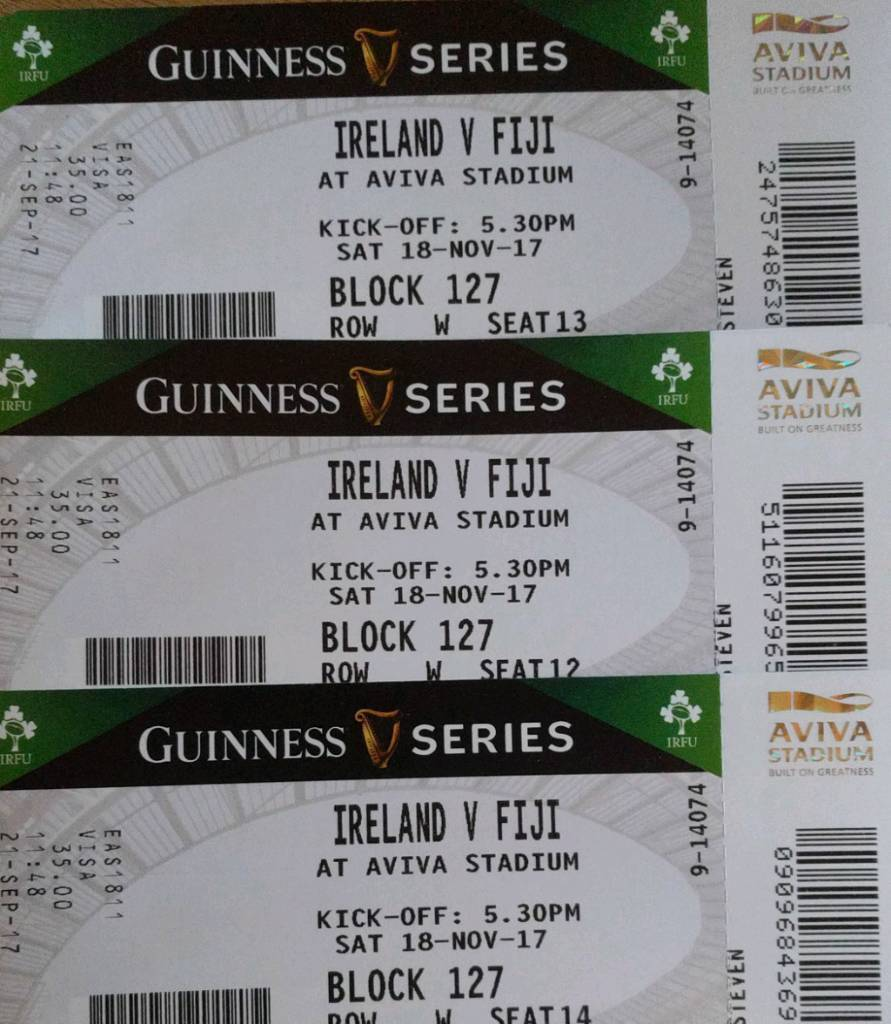 3x Ireland Fiji Tickets -SOLD