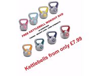 Vinyl Kettlebells Home Gym Training 2kg - 14kg Weight Fitness Kettlebell Free DVD: NEW