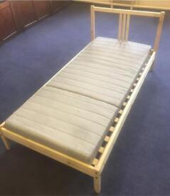 Pine single IKEA bed with IKEA foam mattress + pillow- mint condition
