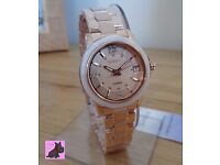 Casio SHE-4512PG-9AUER Ladies Sheen Rose Gold Plated Watch with Swarovski Elements. New - RRP: £180