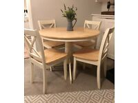 Round Beech Dining Table and 4 Chairs