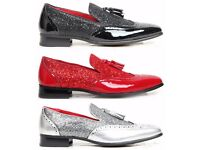 Men Casual Smart Tassel Loafers. Red, Black, Silver Party Wedding Shoes. Summer Footwear.