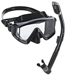 NEW Phantom Aquatics PAQPMSC-ABK Panoramic Scuba Snorkeling Dive Mask Snorkel