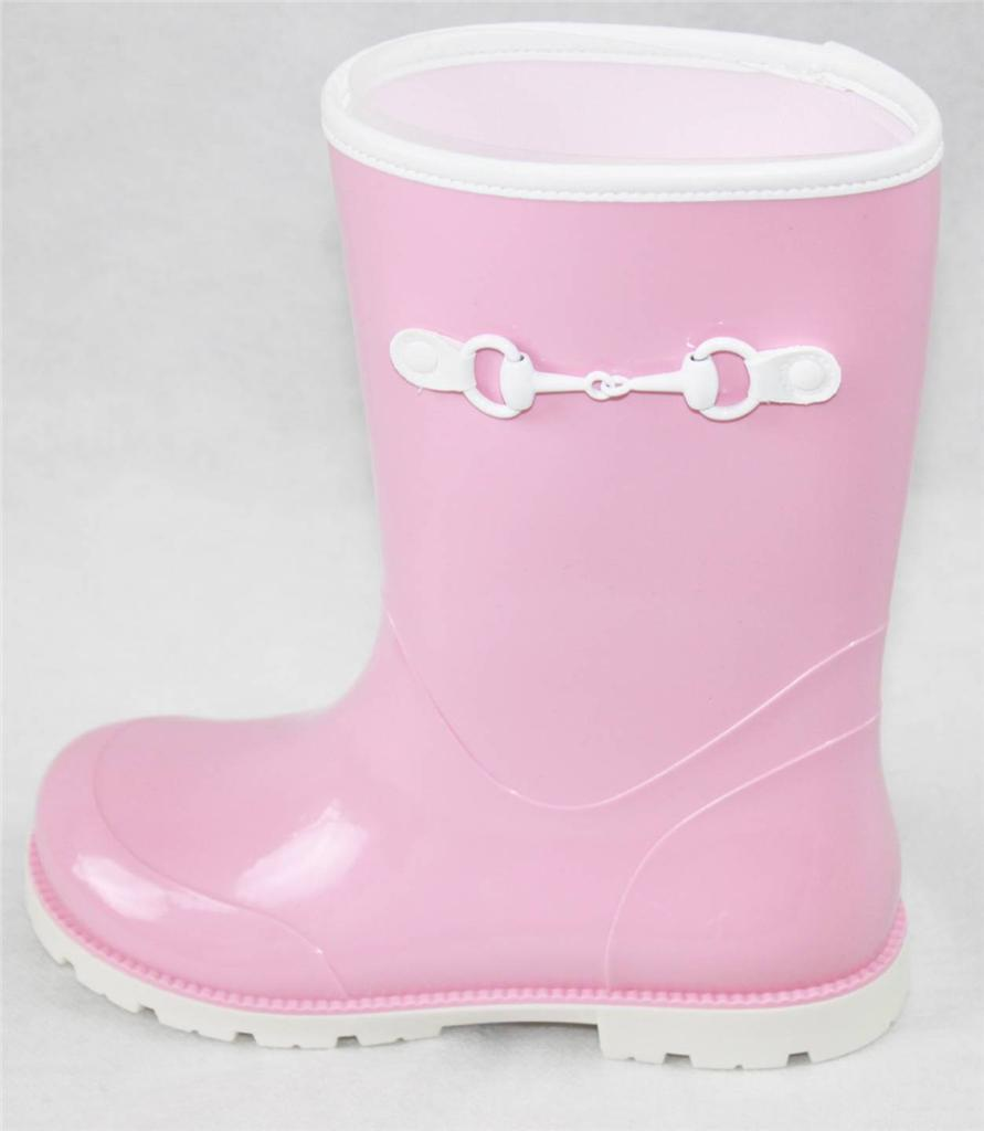 AUTH GUCCI  Girl's Pink Rubber Rain Boot 29/US12
