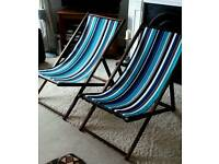 Striped canvas deck chairs