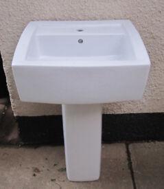 Chunky modern bathroom basin with pedestal