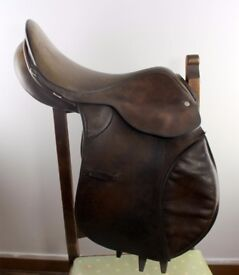 "E Jeffries 17"" Brown Leather English GP Saddle Medium"