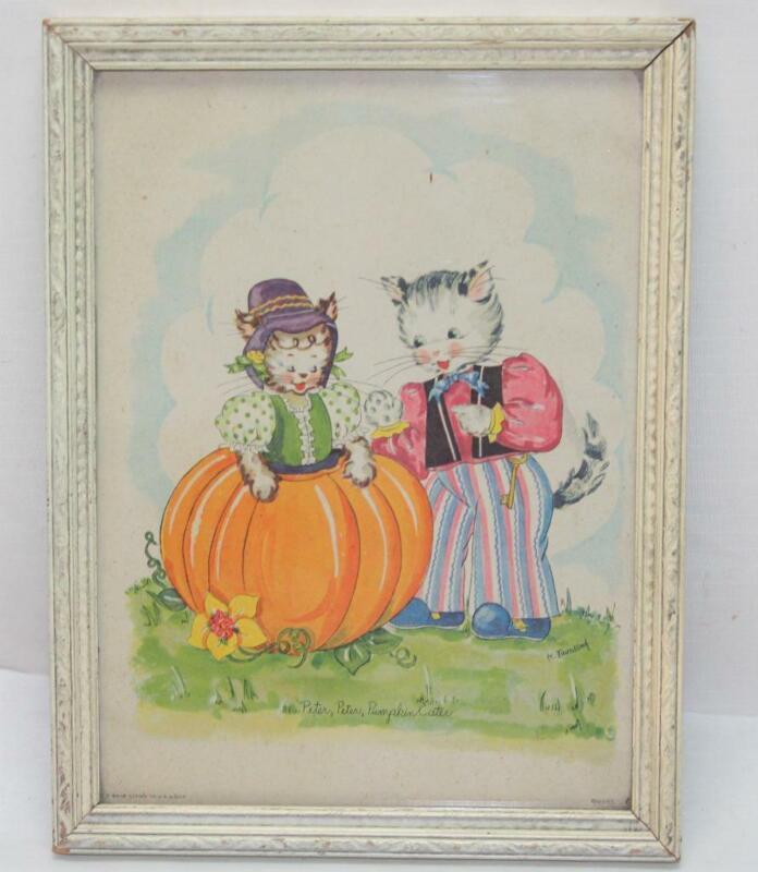 Vintage K. Townsend Litho Peter Peter Pumpkin Eater Framed Print Anthropomorphic