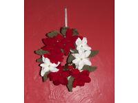 Handmade crochet Christmas wreath (poinsettia)