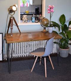120x50cm Industrial Writing Desk & Chair Mid Century Modern Style hairpin Legs