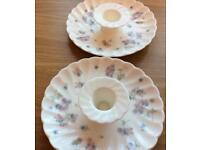 Two Wedgewood candle stands Bone china