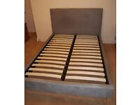 John Lewis Emily double bed, stone fabric, sprung slatted base - 6 months old